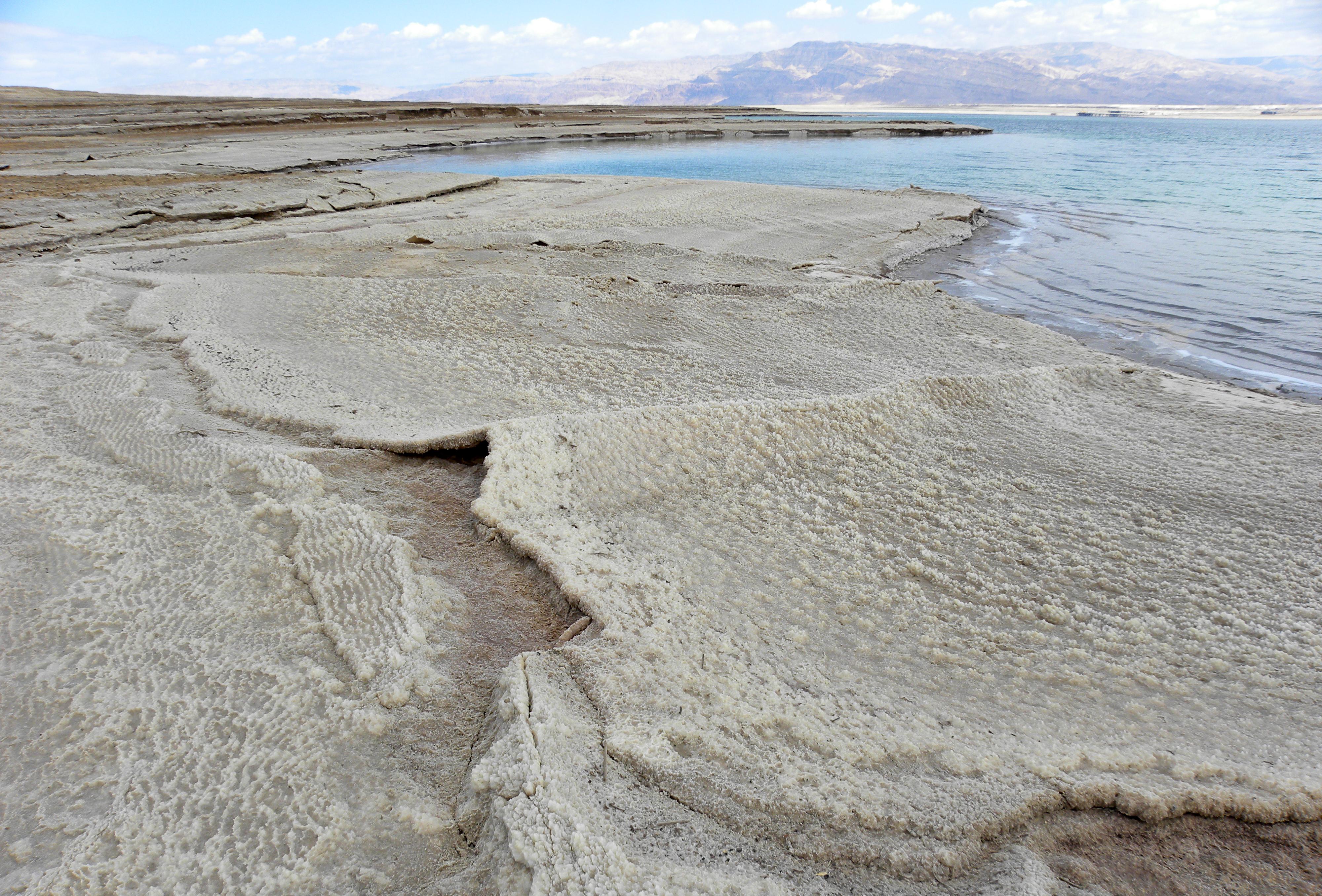deposito di salgemma sul Mar Morto